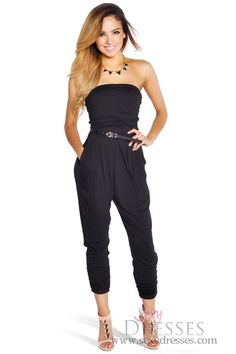 Black Ruched Drapey Jumpsuit with Pockets Outfit