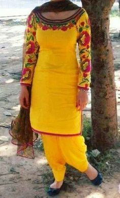 Yellow Punjabi suit with embroidery