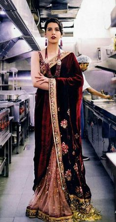 Couture for February Bollywood Saree, Bollywood Fashion, Indian Dresses, Indian Outfits, Velvet Saree, Elegant Saree, Sabyasachi, Indian Ethnic Wear, Party Wear Sarees