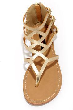 Dollhouse Athens Gold Gladiator Sandals - for Jen's wedding?