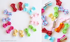 simple bow hair clips with a no-slip grip.....can get the shelf liner at dollar tree!