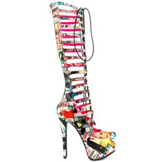 Be fly in the Wings by Privileged.  This eye catching look creates a new twist to the gladiator.  A magazine print covers the synthetic upper and tall 16 1/2 inch shaft.  The adjustable silhouette features a 6 inch heel and 2 inch platform.