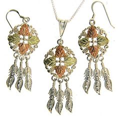 Beautiful Sterlingsilver Yellowgold Black Hills Gold Dream Catcher Dangleearrings  Pendant 30 Inch *** Find out more about the great product at the image link.(This is an Amazon affiliate link and I receive a commission for the sales)