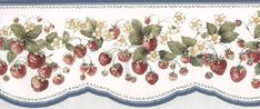 Blue Vines of Strawberries Wallpaper Border