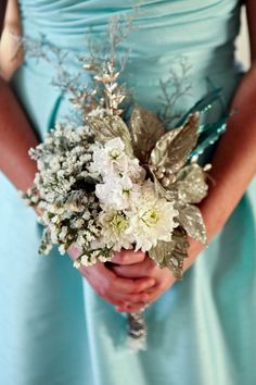 Winter wedding bridesmaids bouquet by Urban Chateau Floral - photo by Pepper Nix