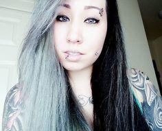 WEBSTA @ tattoo_barbie_ - Call me Cruella de Vil. Finally happy with my hair ♡ #tattoobarbie #tattooedandemployed #inked #inkedmag #greyandblackhair #halfandhalfhair #piercings #tattoomodel #tattooedfitness