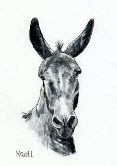 A Mule A Day burro face original painting by SuesArt on Etsy
