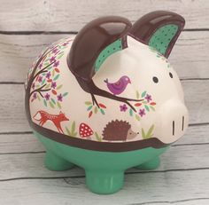 Personalized Piggy bank Woodland animals Artisan by Alphadorable Baby Piggy Banks, Personalized Piggy Bank, Piggly Wiggly, Its My Bday, Crafty Kids, Hedgehogs, Ceramic Painting, Woodland Animals, Peppa Pig