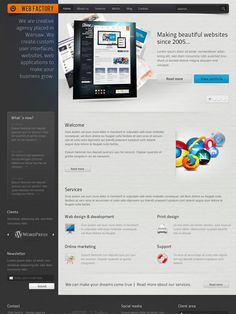 """Buy Web factory by Shegy on ThemeForest. Fonts used in design: Fonts (non-standard) """"Bebas"""" More Info """"Titillium"""" More Info """"Arial"""" (standard) Icons used in . Social Networks, Social Media, Html Templates, Web Browser, User Interface, Icon Set, Lorem Ipsum, 1, Website"""