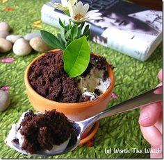 Flower Pot Ice Cream Sundae - this is ridiculously adorable. Love the idea of doing mint leaves, but as one commenter pointed out these pots can contain a small amount of  lead, so line them with something or use a pot you can be sure of as safe (plastic, for instance). This is so weird but its just so cute.