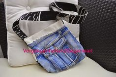 Jeans upcycled to a cute bag - Love how this one is done! From Then and Now