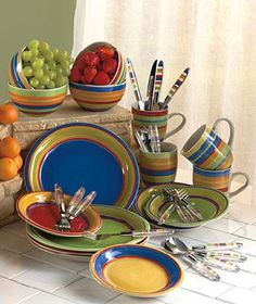 Table top striped dinnerware collection set