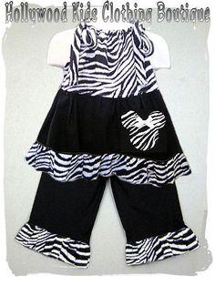 Custom Boutique Girl Clothing Funky Zebra by ZamakerrClothingCo, $40.99