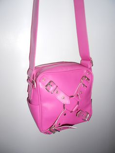 90s Vtg Deadstock Pink O-ring Goth Grunge Punk Cyber Bag Size Small Medium