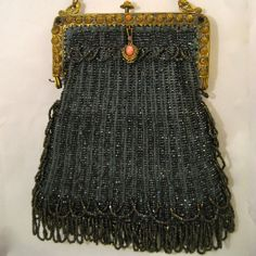 Vintage Beaded Purse Jeweled Frame with Griffins