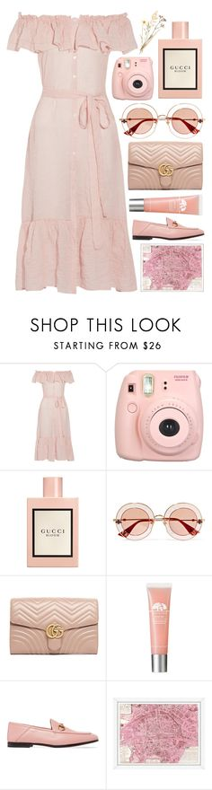 """dreams of summer"" by its-ishani ❤ liked on Polyvore featuring Lisa Marie Fernandez, Fujifilm, Gucci and Vintage Print Gallery"