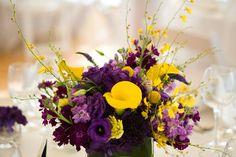 Flowers, Centerpiece, Purple, Wedding, Yellow, Beach, Soiree floral