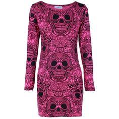 Hot Pink Skull Print Long Sleeve Bodycon Dress