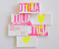 Otilia Indumentaria business cards: Yet another awesome neon business card!