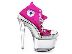 converse stilettos - glass foot which are quite funky and a great design of shoes! Converse High Heels, Shoes Heels, Yellow Converse, Ugly Shoes, Cute Shoes, Me Too Shoes, Weird Shoes, Stilettos, Pumps