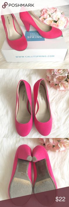 """Fabulous Hot Pink Heels by Call It Spring 6 Understated elegance is what this round-toed pump with cone heel design is all about. Heel height 3.5"""".  Brand: Call It Spring. Sz:6. Comes with original box if you like, just comment and let me know.  Only worn one time, great condition! A few scuff marks on bottom back part of heel as shown in last picture.  True to size in my opinion.  Call It Spring Shoes Heels"""
