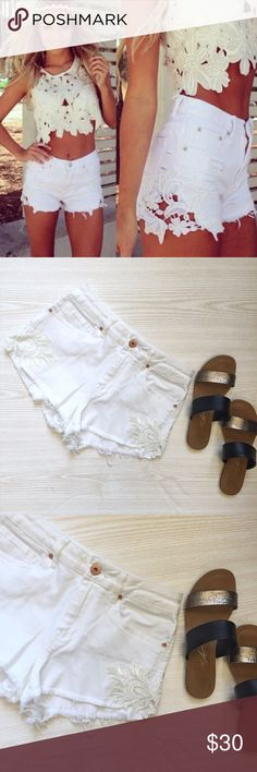 Bullhead White Denim Shorts Bullhead White and Lace Denim Shorts  • never worn, in perfect condition  • these would best fit a size 26 • NOT the exact same shorts as in the cover photo, just an inspiration  • 64% cotton, 34% rayon, 2% spandex  • no trades  offers only accepted via the offer button Bullhead Shorts Jean Shorts