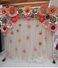 No automatic alt text available. Large Paper Flowers, Paper Flower Wall, Tissue Paper Flowers, Flower Wall Decor, Flower Decorations, Wedding Decorations, Paper Flower Backdrop Wedding, Floral Backdrop, Backdrop Frame