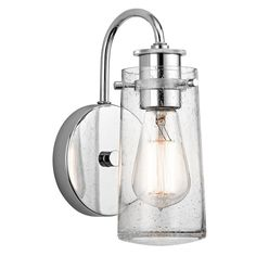 This Braelyn collection 1-light wall sconce features a chrome finish that will complement many urban, loft, and transitional decors. The clear seeded glass surrounding the Edison style bulb adds inter