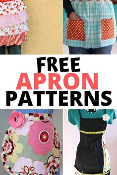 These free apron patterns would make a great gift for anyone! Grab your sewing machine you will love all these creative and beautiful ideas. Apron Patterns, Dress Patterns, Sewing Patterns, Cool Diy Projects, Sewing Projects, Sewing Ideas, Red Velvet Cheesecake Brownies, Historical Women, Historical Photos
