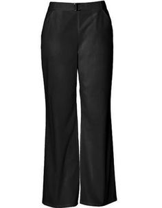 Style Code: (CH-2050T)  This is a straight leg pant with flat front, squared silver closure at center waist and side slash pockets. Back waist sports dyed to match soft elastic with tonal Cherokee logo.