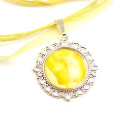 Yellow Recycled Necklace Melted Crayon Art by InstinctivelyIndie, $17.50