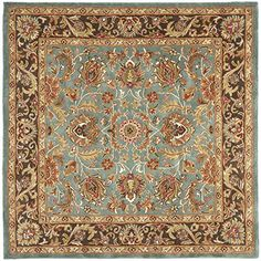 Safavieh Heritage Collection HG812B Handmade Traditional Oriental Blue and Brown Wool Square Area Rug (8' Square)