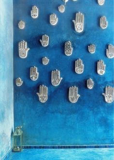 Sidi Bou Said, carved decorative hand on wall-Tunisia