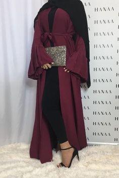 The Flare Sleeve Open Abaya – Burgundy Modern Hijab Fashion, Muslim Women Fashion, Hijab Fashion Inspiration, Islamic Fashion, Abaya Fashion, Vogue Fashion, Modest Fashion, Eid Outfits, Curvy Outfits