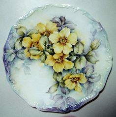 "Rose ""Sunny June"" painted on 9"" scroll edged hanging porcelain plate. Artist Judith Standing"