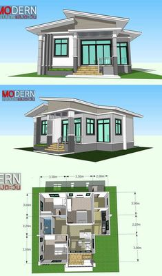 Three-bedroom One-storey House, an Ideal Home for Beginners - Cool House Concepts Bungalow Style House, Modern Bungalow House Design, Minimal House Design, Simple House Design, House Front Design, Sims House Plans, House Layout Plans, Dream House Plans, House Layouts
