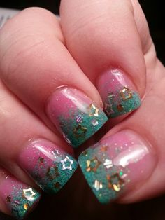 Awesome acrylic nails but prefer clear and pink tips with the stars teal ac Pretty Nail Colors, Pretty Nail Designs, Colorful Nail Designs, Acrylic Nail Designs, Pretty Nails, Nail Art Designs, Teal Acrylic Nails, Aqua Nails, Camo Nails