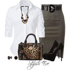 grey skirt, white shirt, black shoes and leopard bag or scarf . Add black jacket.                                                                                                                                                                                 Más