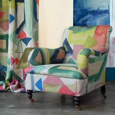 A vibrant new abstract for the season, the Big St Ives fabric builds colour through triangular and block shapes painted in true signature watercolour style. This contemporary design offers a multi-coloured palette inspired by creating unique compositions Curtain Fabric, Linen Fabric, Bluebellgray, Statement Wall, St Ives, Curtain Designs, Modern Prints, Wingback Chair, Soft Furnishings