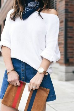 Slouchy Sweaters + Button-Front Skrits