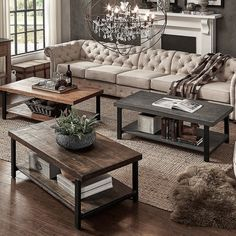 TRIBECCA HOME Cyra Industrial Reclaimed Rectangular Cocktail Table - 18170856 - Overstock.com Shopping - Great Deals on Tribecca Home Coffee, Sofa & End Tables