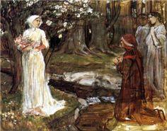 """""""Dante and Beatrice"""", 1915, by John William Waterhouse (British, 1849-1917)"""