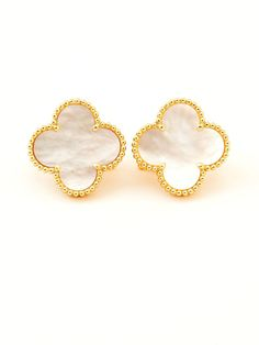 Van Cleef Arpels 18k Yellow Gold Super Alhambra Stud Earrings White Mother Of Pearl