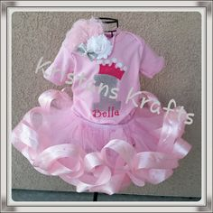 Baby girl's 1st birthday outfit ribbon trimmed by KristansKrafts, $70.00