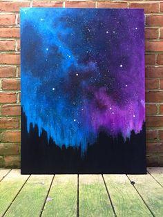 Mellow Wonder: Stardust Galaxy (original art, large original painting, blue purple acrylic, canvas, space art, night sky painting)
