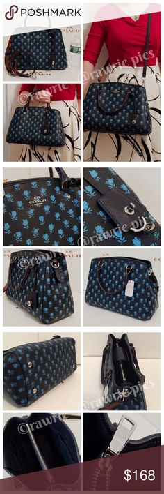"SALE New Coach multi floral Margot Carryall 100% authentic Coach Margot Carryall Crossbody Satchel. Badlands floral coated canvas with midnight leather trim. Silver tone hardware and turnlock keyring hangtag. Clasp top magnetic closure and fabric lining. Inside zip and slip pockets. Handles drop 4"". Longer detachable and adjustable strap. Measures 9.5""top/13.5""bottom x 8.5"" (H) x 6"" (W). Brand new with tags. Comes from a pet and smoke free home. Coach Bags Satchels"