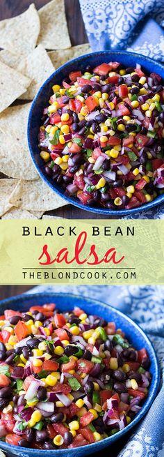 Black Bean Salsa - A hearty and healthy salsa! Black Bean Salsa - A hearty and healthy salsa! Black Bean Salsa - A hearty and healthy salsa! Mexican Food Recipes, Vegetarian Recipes, Cooking Recipes, Healthy Recipes, Dip Recipes, Tostada Recipes, Beans Recipes, Vegetarian Mexican, Snacks