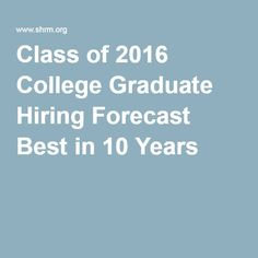 Class of 2016 College Graduate Hiring Forecast Best in 10 Years