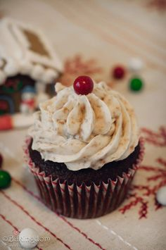 Gingerbread-Cocoa-Cupcakes; Made these, but used eggnog buttercream. Even Blake said these were the best cupcakes he's ever eaten!