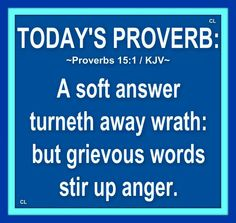 Proverbs 1:1 KJV  A soft answer turneth away wrath: but grievous words stir up anger.